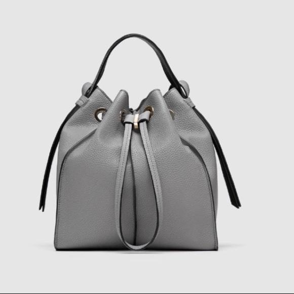 Zara Handbags - Zara grey monochrome bucket bag